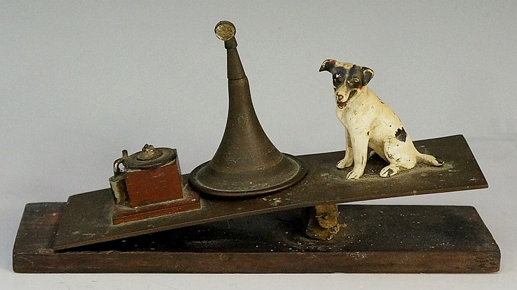 An Austrian cold painted bronze of Nipper the HMV dog as a desk clip with