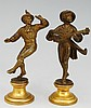 A pair of Austrian bronze miniature figures of troubadours, one dancing, th
