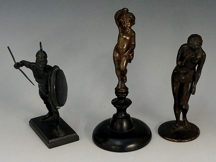 A 19th Century sculpture of a naked female, 14.5cm high; a bronze figure of