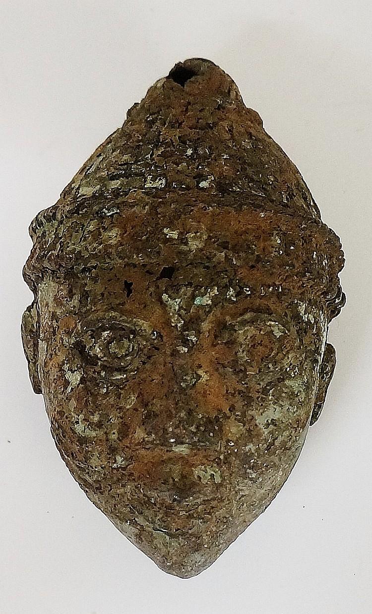 A bronze Benin style mask, 10cm high