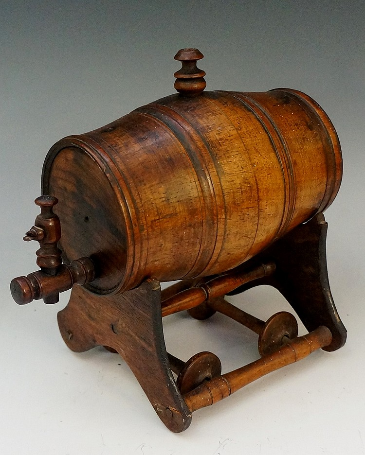 Treen - a 19th Century wooden barrel with carved ''coopered'' bands, the to