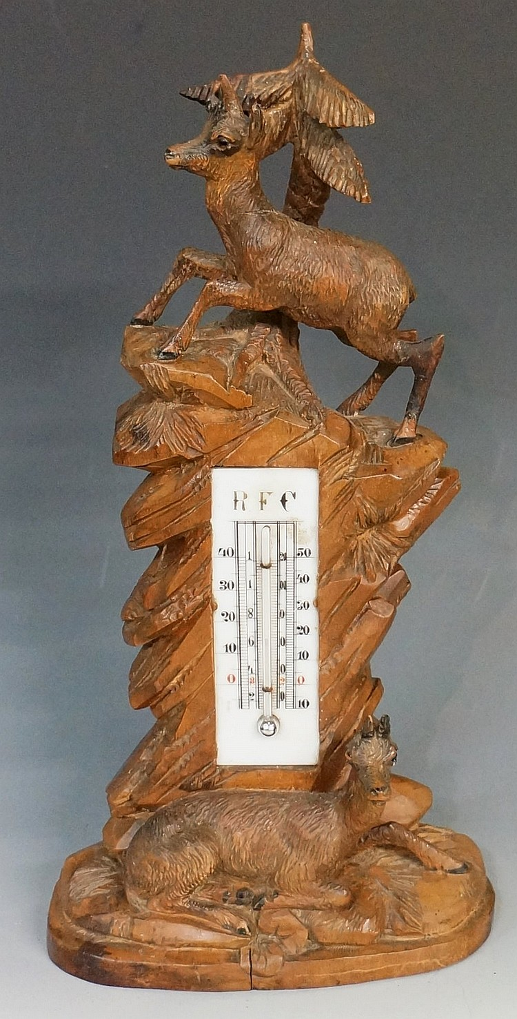 Black Forest - a thermometer, the glass register inscribed RFC with two mou