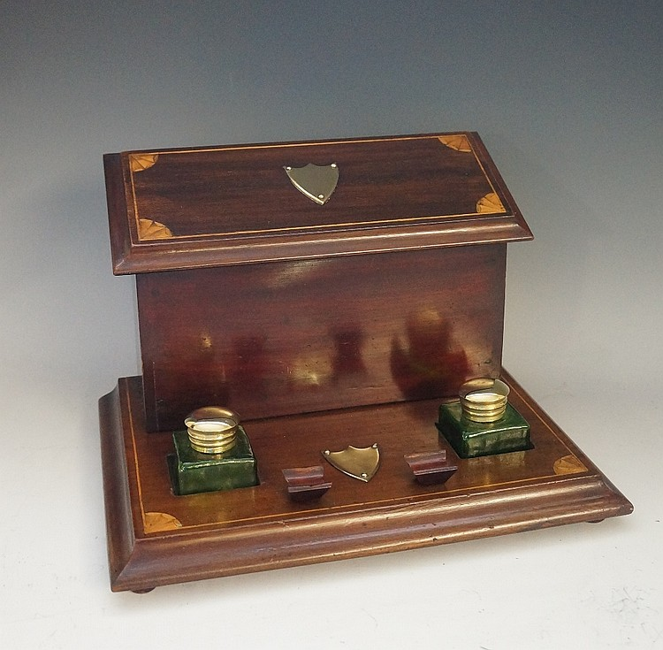 An Edwardian inlaid mahogany stationery box the letter rack with hinged lid