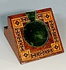 A 19th Century Tunbridge ware watch stand of sloping form, green velvet lin