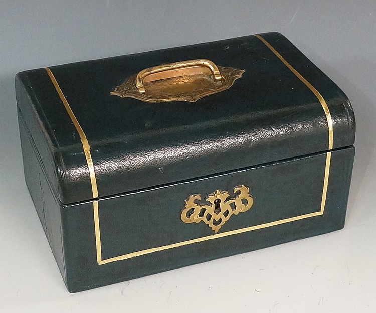 A Victorian gilt tooled green Morocco leather jewelry casket with foliate e