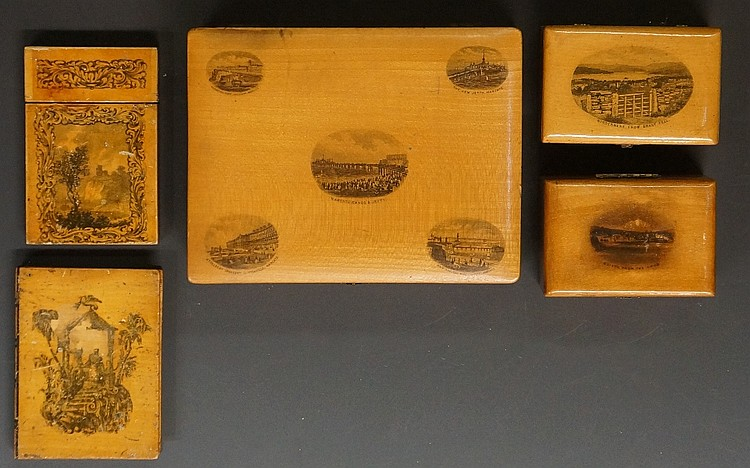 Two Mauchline ware card cases; a large Mauchline ware box with transfer pri