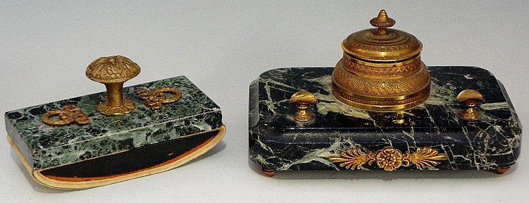 A mid 19th Century French Regence style inkwell, the circular engine turned