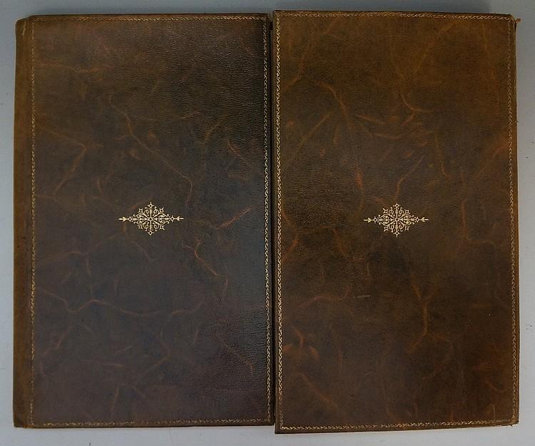 A gilt tooled brown leather desk set, 34cm x 28cm