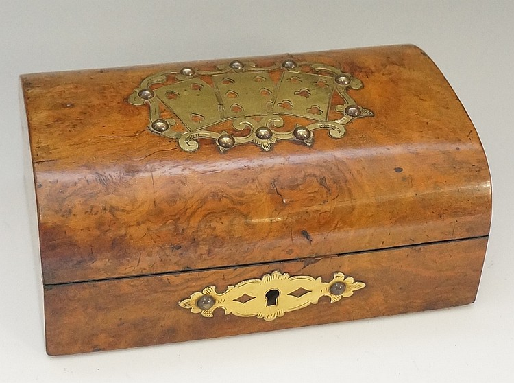 A Victorian figured walnut shallow dome topped card box, the hinged lid wit
