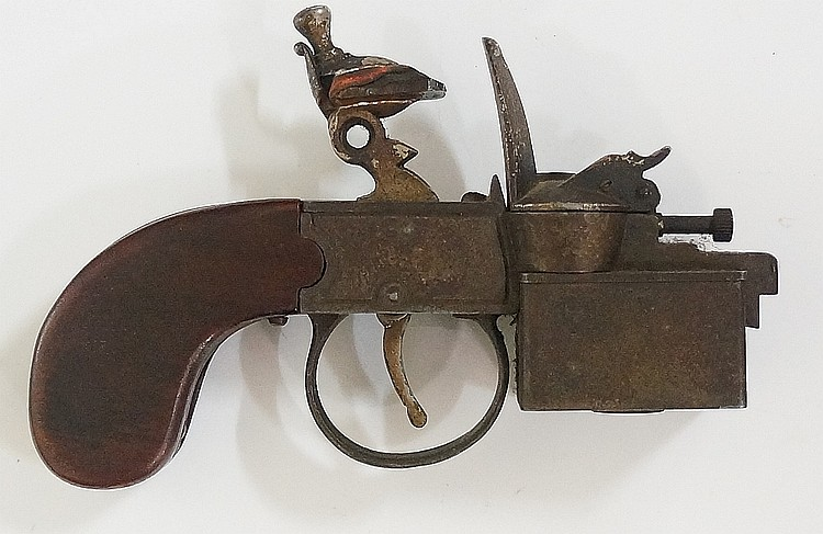 A Dunhill tinder pistol with walnut faced handle, 14cm wide, the base inscr