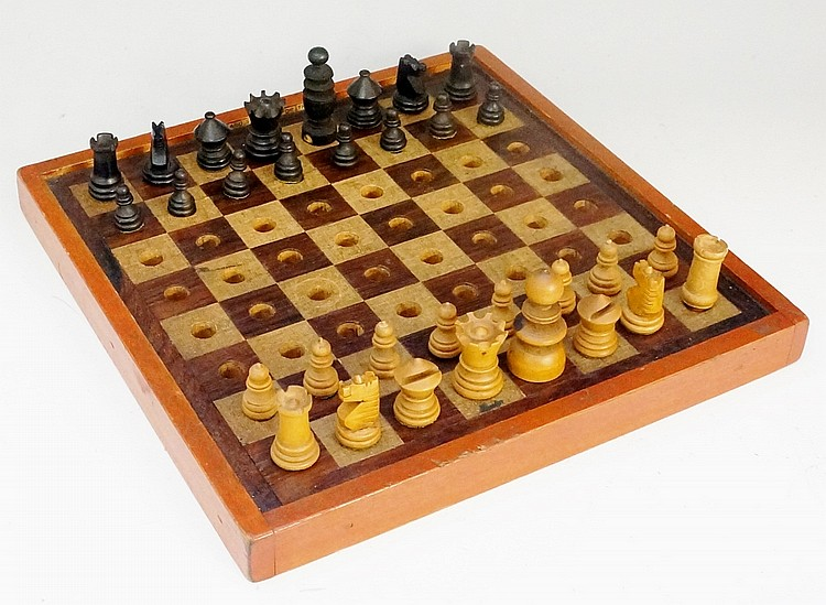 A Barnards Board for the Blind chess set, the board inlaid in rosewood with