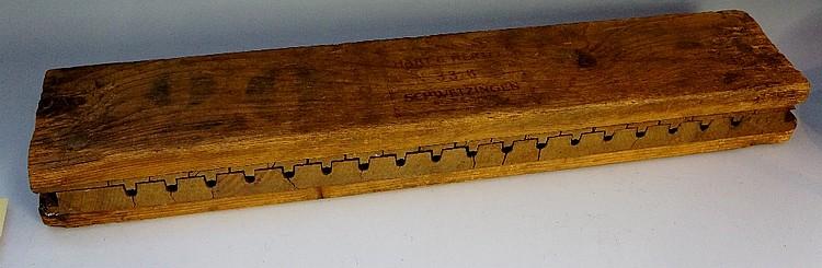 A German softwood cigar mould stamped Hart & Hertel, numbered 336, Schwetzi