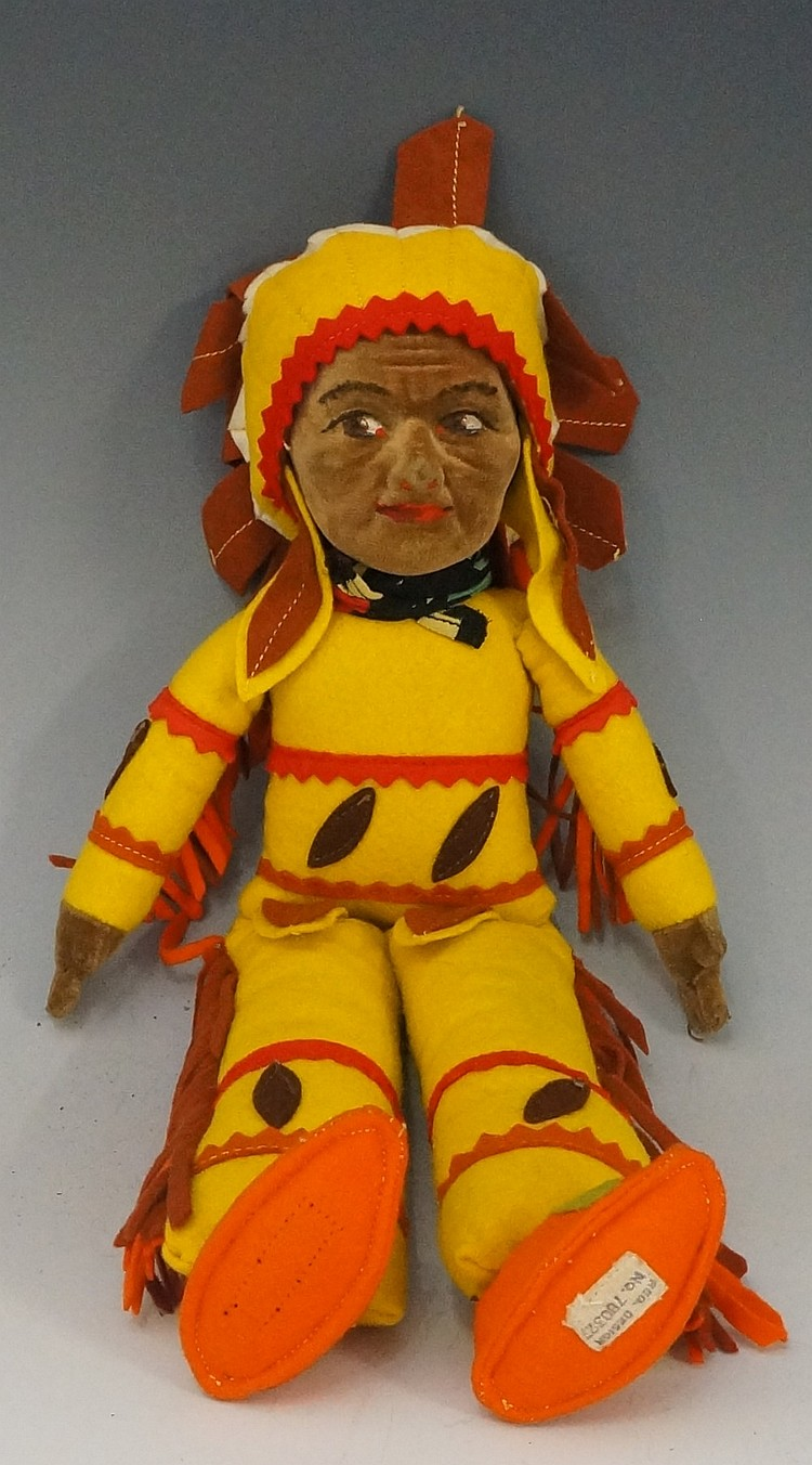 A Norah Wellings Indian Chief doll with velvet moulded face and painted fea