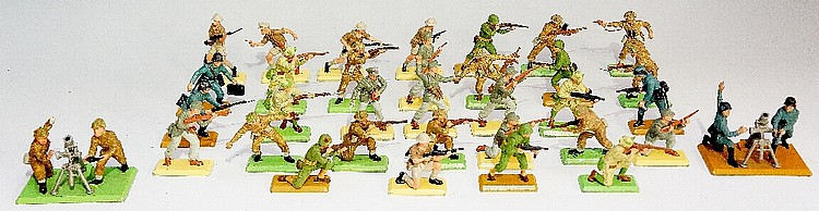 A quantity of Britains Ltd WWII figures including: British/Europe eleven pl