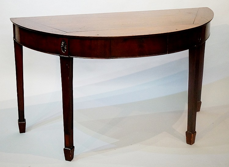 A mahogany D-shaped single drawer side table in George III style on square