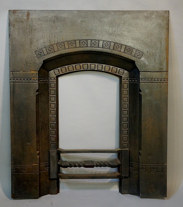 A Victorian cast iron fireplace insert, 76cm wide, 93cm high