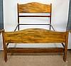 An Edwardian three piece inlaid mahogany bedroom suite comprising: wardrobe
