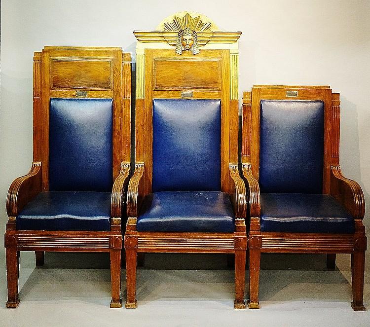 An impressive set of three Art Deco style American walnut Masonic chairs fo
