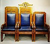 An impressive set of three Art Deco style American walnut Masonic chairs fo