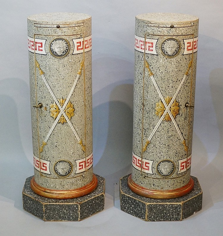A pair of continental grey faux scagliola decorated wooden cylindrical pede