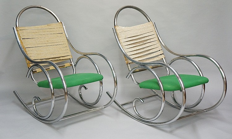 A pair of chromium plated rocking chairs in ''Thonet'' style, 103cm high, 1