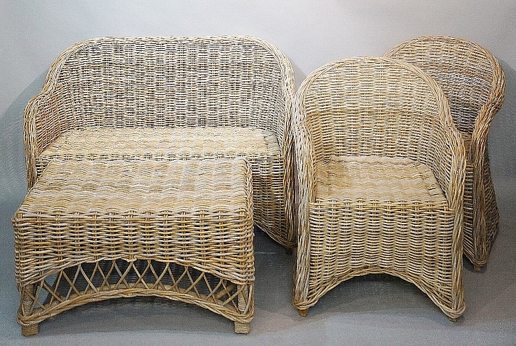 A four piece woven willow conservatory suite, comprising two seater sofa, p