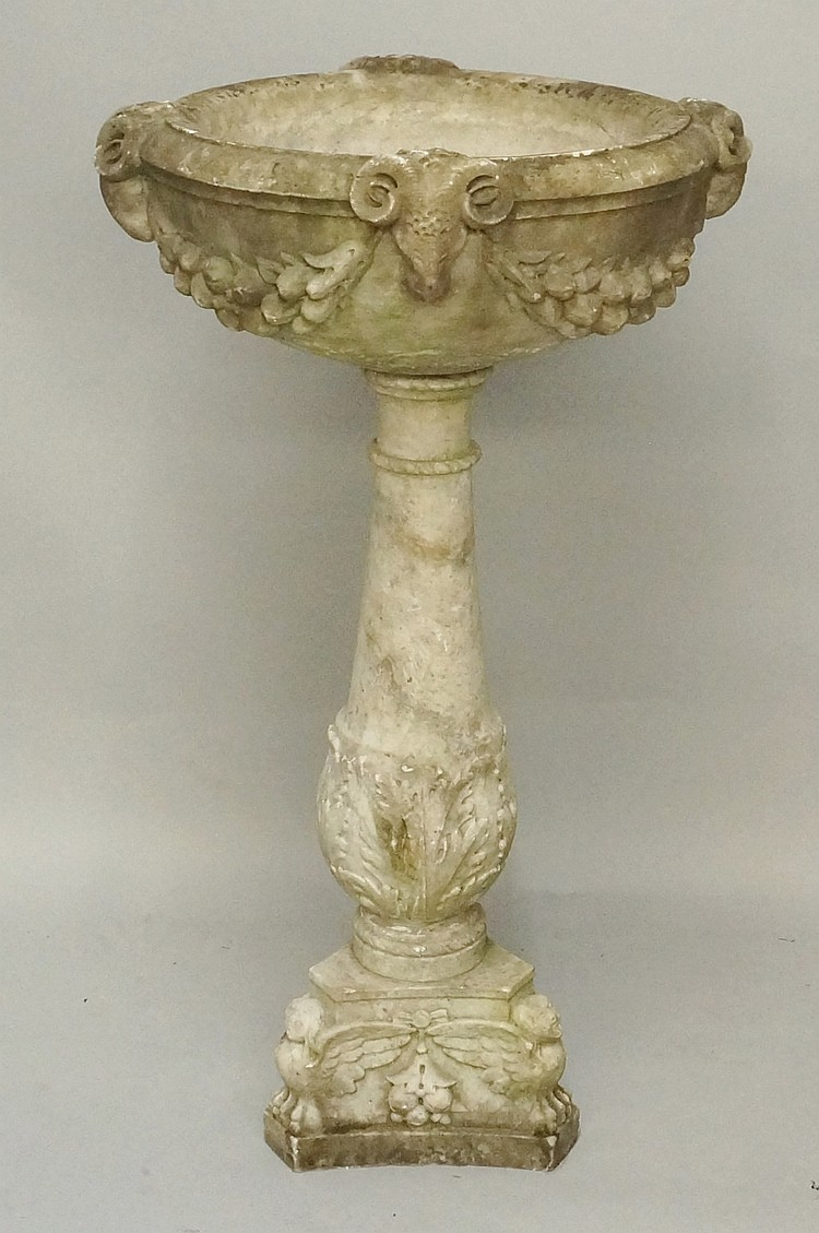 A good 18th Century veined grey marble bird bath, the shallow urnular top c