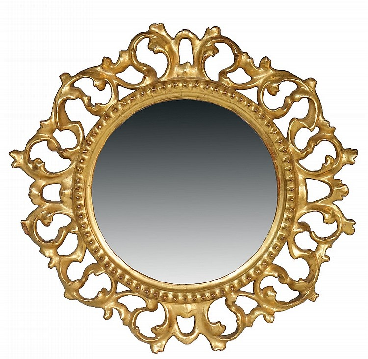 An Italian giltwood circular frame, the bevelled plate within beaded rim an