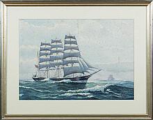 JOHN F. LEAVITT (AMERICAN 1905-1974). TWO WATERCOLORS OF AMERICAN CLIPPER SHIPS.