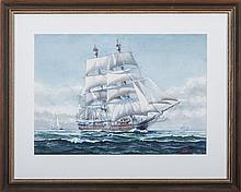"""JOHN F. LEAVITT (AMERICAN 1905-1974). TWO WATERCOLORS OF WHALESHIPS: THE """"CHARLES W. MORGAN"""" AND THE """"MARS."""""""