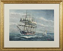 "JOHN F. LEAVITT (AMERICAN 1905-1974). TWO WATERCOLORS: AN AMERICAN BARK IN ROUGH SEAS AND THE DUTCH FOUR-MASTED SHIP ""HERA."""