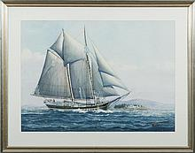 """JOHN F. LEAVITT (AMERICAN 1905-1974). TWO WATERCOLORS: THE TWO-MASTED SCHOONER """"BLOOMER"""" AND A YACHT SAILING OFF A COAST."""