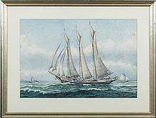 """JOHN F. LEAVITT (AMERICAN 1905-1974). TWO MAINE SAILING SHIPS: THE BARK """"ONAWAY"""" OF PORTLAND AND THE """"LAVINIA M. SNOW"""" OF ROCKLAND."""