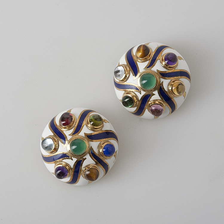 WHITE ENAMEL DOME-SHAPED EARRINGS WITH MULTI-COLORED STONES.