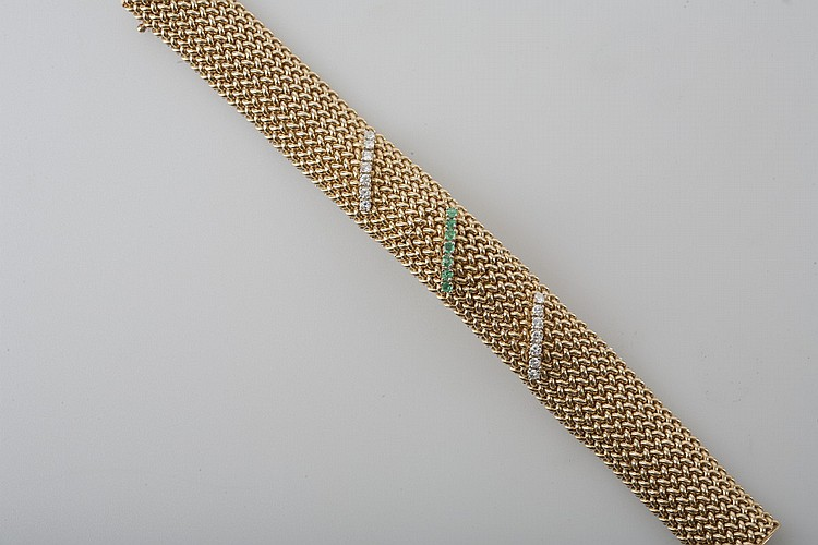 WOVEN 14K GOLD BRACELET WITH DIAMONDS AND EMERALDS.
