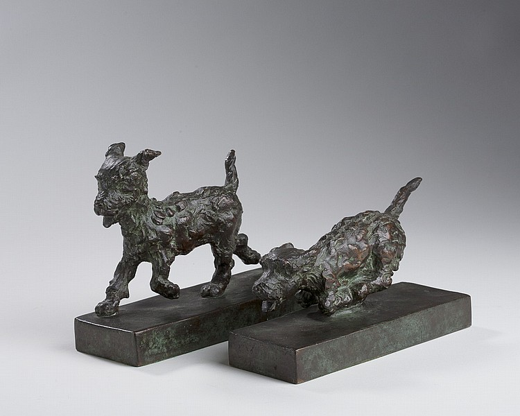 EDITH B. PARSONS (AMERICAN 1878-1956). PAIR OF BRONZE BOOKENDS OF TERRIERS.