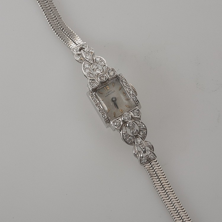 LADY HAMILTON 14K WHITE GOLD WATCH WITH DIAMONDS.