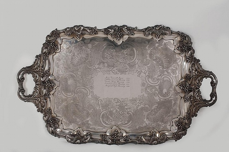LARGE SHEFFIELD PLATE PRESENTATION TRAY, EARLY TO MID-NINETEENTH CENTURY.