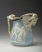 UNION PORCELAIN WORKS PITCHER, DESIGNED BY KARL L.H. MULLER, GREENPOINT (BROOKLYN), NEW YORK, CIRCA 1876.
