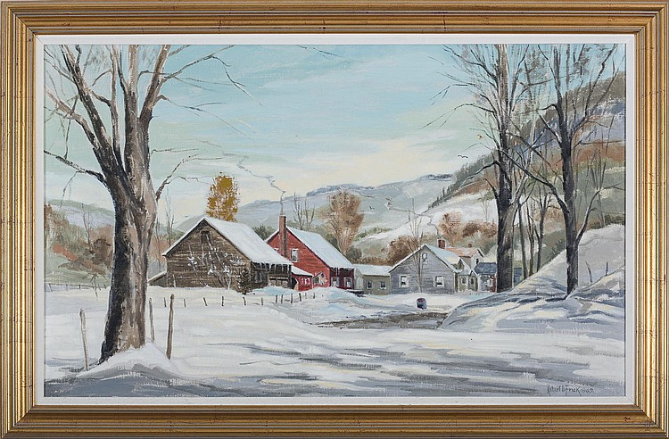 ROBERT O. FRICK (AMERICAN 1920-1997). VERMONT WINTER LANDSCAPE, SOUTH POMFRET.