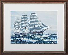 JOHN F. LEAVITT (AMERICAN 1905-1974). AMERICAN CLIPPER SHIP UNDER SAIL.