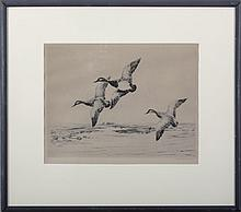 RICHARD E. BISHOP (AMERICAN 1887-1975). DUCKS IN FLIGHT.