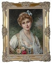 FRANCOIS MARTIN-KAVEL (FRENCH 1861-1931). PORTRAIT OF A YOUNG WOMAN HOLDING ROSES.