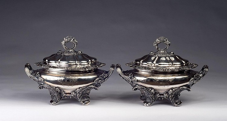 THE APPLETON FAMILY OF BOSTON: IMPORTANT PAIR OF WILLIAM IV SILVER SAUCE TUREENS AND COVERS, BENJAMIN SMITH II, LONDON, 1830-31.