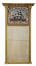 NEW ENGLAND FEDERAL GILTWOOD MIRROR WITH EGLOMISE PANEL DEPICTING THE U.S.S. CONSTITUTION.