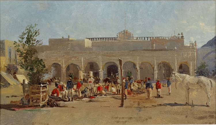 Conrad Wise Chapman. A Mexican square with figures and horses.