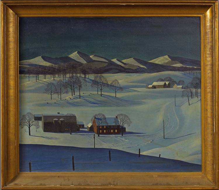 ROCKWELL KENT (AMERICAN 1882-1971). MOUNTAINOUS LANDSCAPE WITH FARM BUILDINGS IN SNOW.