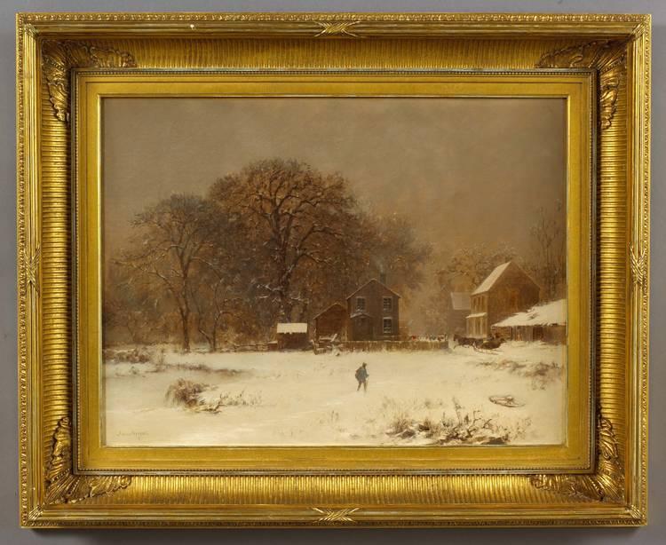 JOSEPH MORVILLER (AMERICAN 1800-1870). WINTER SNOW SCENE WITH TRAVELERS AND SLEIGH.