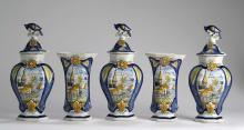 DUTCH DELFT POLYCHROME FIVE-PIECE GARNITURE, DE DRIE KLOKKEN (THE THREE BELLS FACTORY), CIRCA 1790.