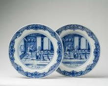 PAIR OF DUTCH DELFT BLUE AND WHITE BIBLICAL DISHES, DE PORCELEYNE LAMPETKAN (THE PORCELAIN EWER), CIRCA 1780.